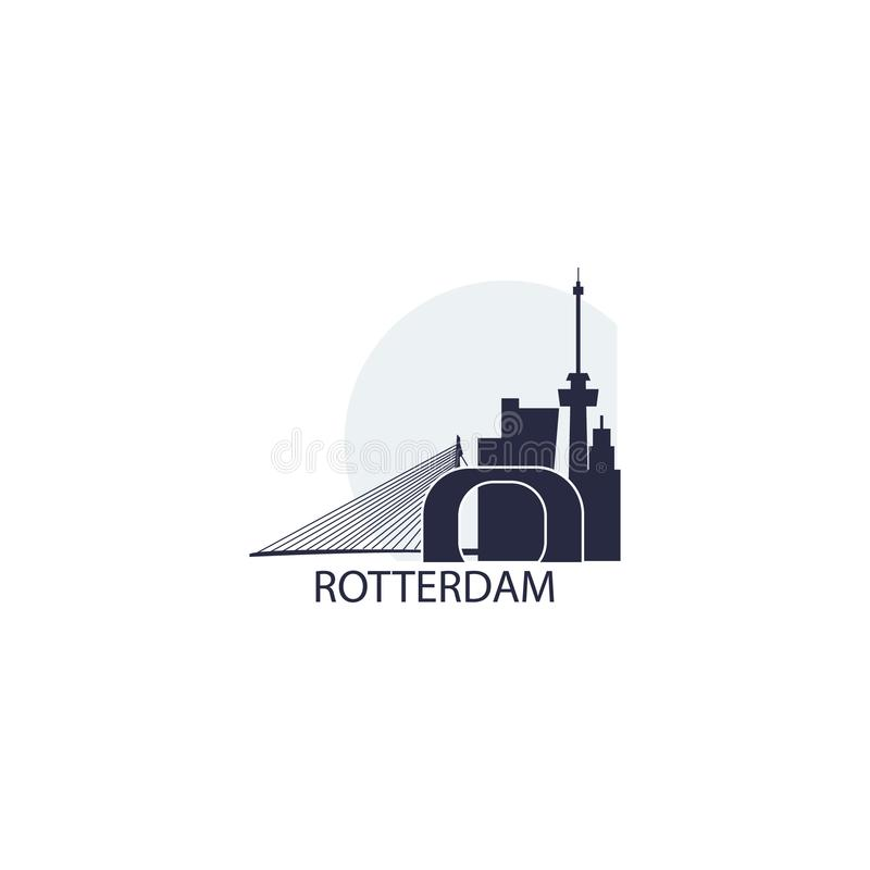 Rotterdam city skyline silhouette vector logo illustration vector illustration
