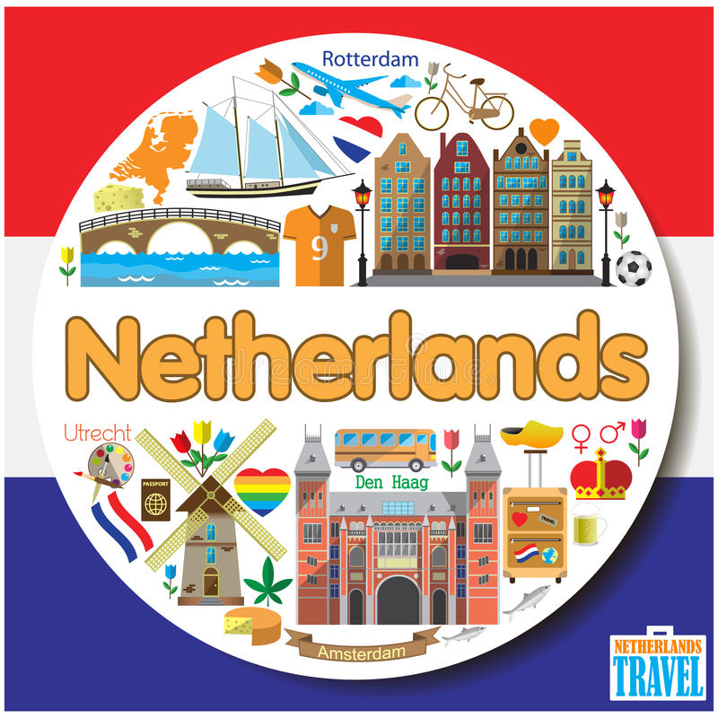 Netherlands round background. Vector colored flat icons and symbols set. Netherlands round background. Vector colorful flat icons and symbols set vector illustration
