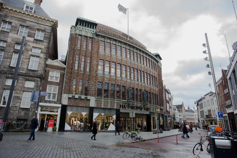 Netherlands s`Hertogenbosch, December 11, 2018 Hudson`s Bay. The Hudson`s Bay Company is a Canadian retail business group. City building royalty free stock photos