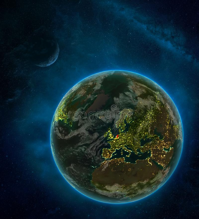 Netherlands from space on Earth at night surrounded by space with Moon and Milky Way. Detailed planet with city lights and clouds. 3D illustration. Elements of stock illustration