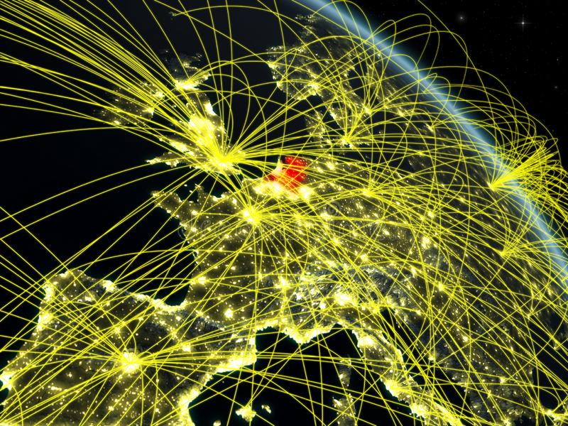 Netherlands from space with network. Netherlands from space on model of planet Earth at night with network. Concept of digital technology, connectivity and vector illustration