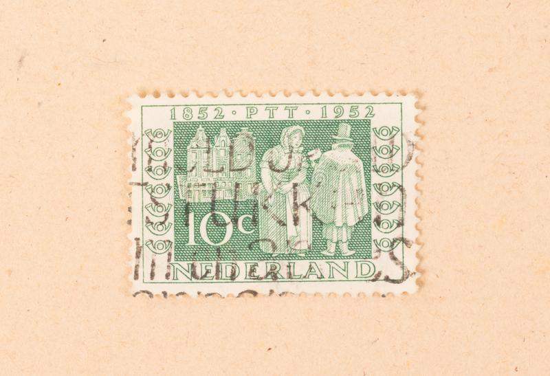 THE NETHERLANDS 1950: A stamp printed in the Netherlands shows the dutch postal service, circa 1950 stock image