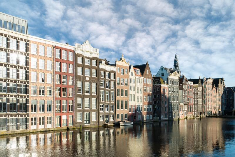 Netherlands traditional houses and Amsterdam canal in Amsterdam. Netherlands royalty free stock photos