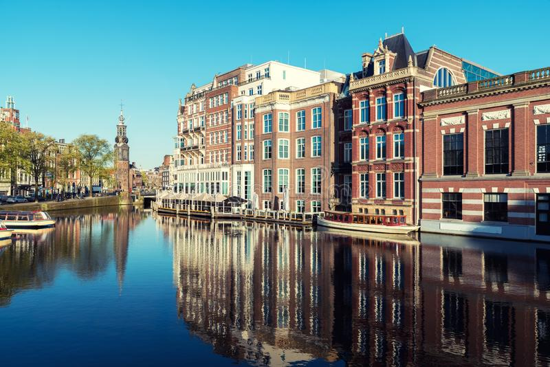 Netherlands traditional houses and Amsterdam canal in Amsterdam. Netherlands royalty free stock image