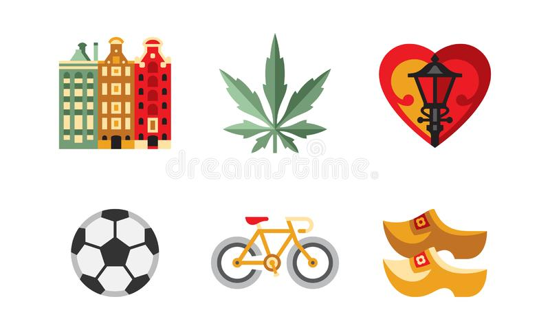 Netherlands travel icons set, popular attractions of the Holland country vector Illustration on a white background. Netherlands travel icons set, popular vector illustration