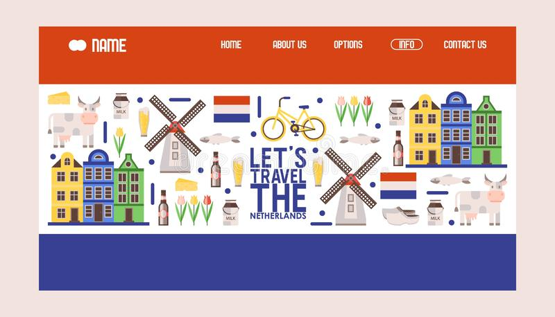 Netherlands travel icons, vector illustration. Tour agency website design, landing page template in colors of Dutch flag stock illustration