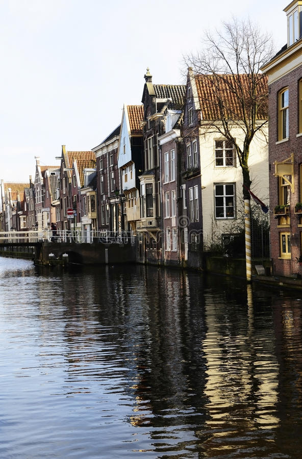 Netherlands Typical Buildings, Bridge and Canal stock photos