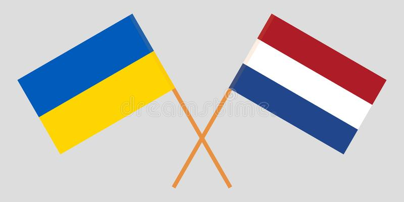 Netherlands and Ukraine. The Netherlandish and Ukrainian flags. Official proportion. Correct colors. Vector. Illustration royalty free illustration