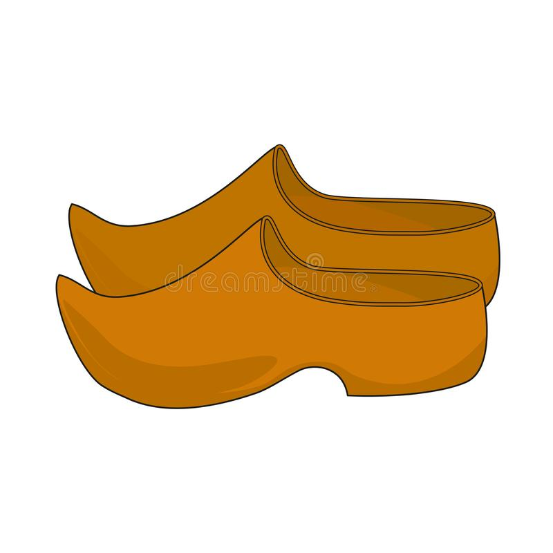 Netherlands. Vector illustration of simple traditional wooden shoes. royalty free stock images