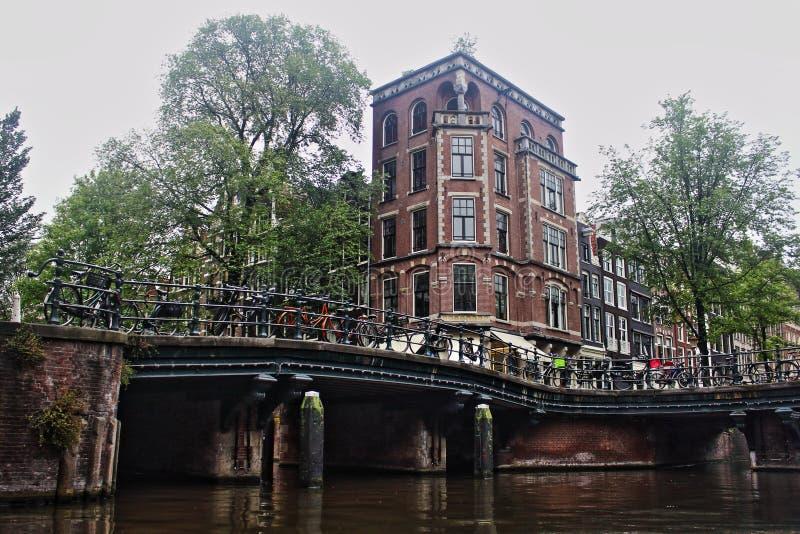 netherlands Vue de rive de paysage urbain d'Amsterdam photos libres de droits
