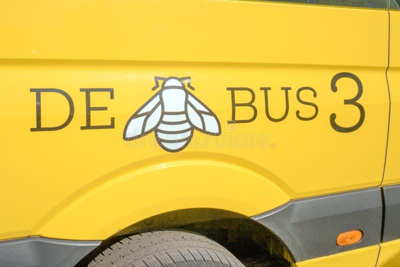 Logo of De bij-Bus. A transport company that focuses on the transport of elderly people. NETHERLANDS - WASSENAAR - APRIL 27, 2019: Logo of De bij-Bus. A stock image