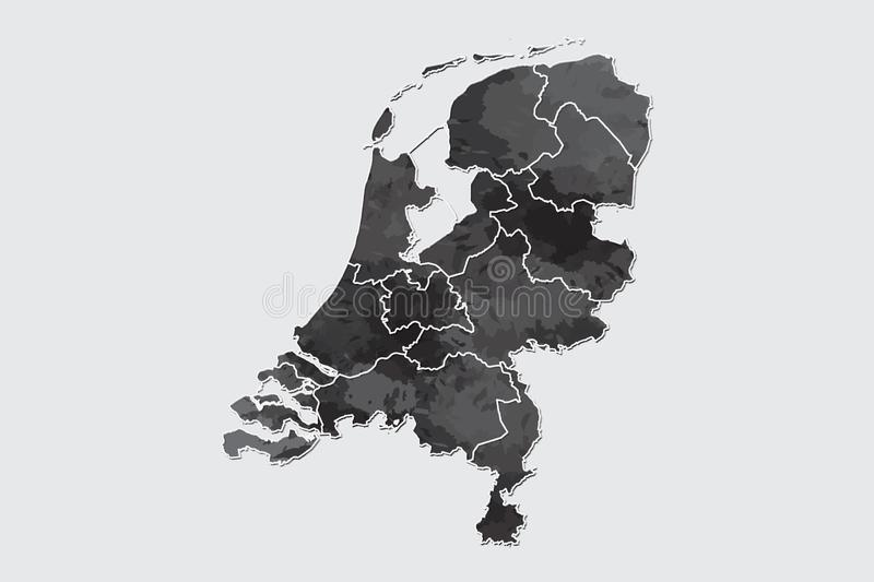 Netherlands watercolor map vector illustration of black color with border lines of different regions or provinces on light. Background using paint brush in page vector illustration