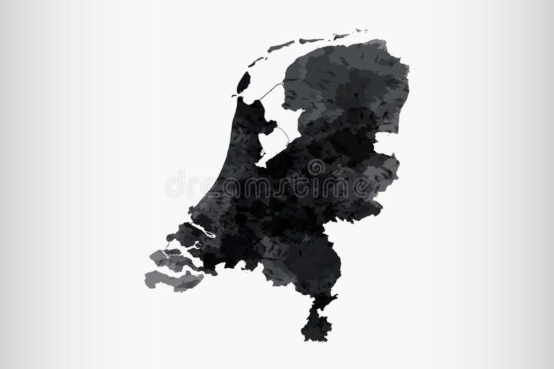 Netherlands watercolor map vector illustration of black color on light background using paint brush in paper page stock illustration