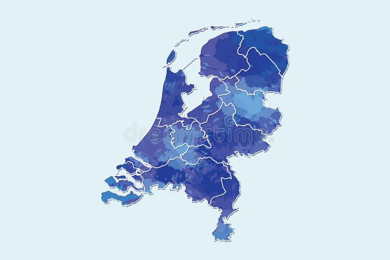 Netherlands watercolor map vector illustration of blue color with border lines of different regions or provinces on light. Background using paint brush in page vector illustration