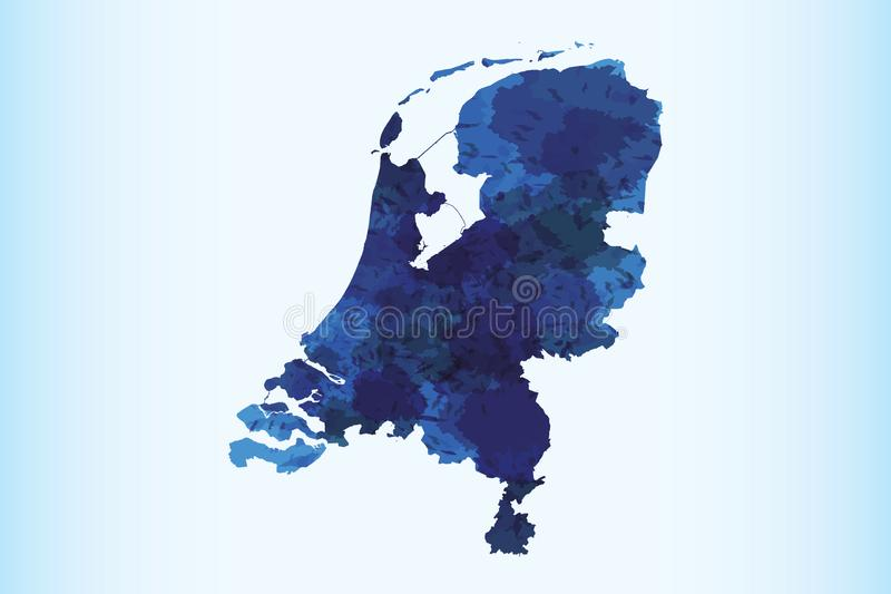 Netherlands watercolor map vector illustration of blue color on light background using paint brush in paper page royalty free illustration