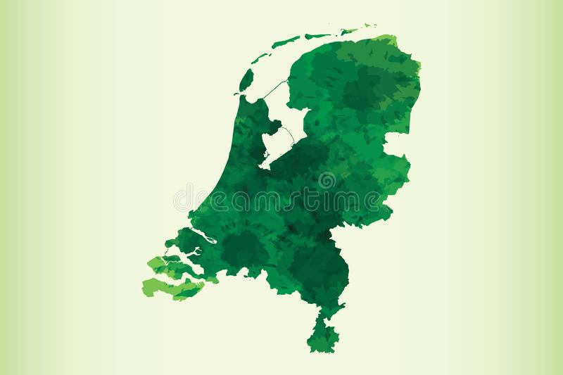Netherlands watercolor map vector illustration of green color on light background using paint brush in paper page. Netherlands watercolor map vector illustration royalty free illustration