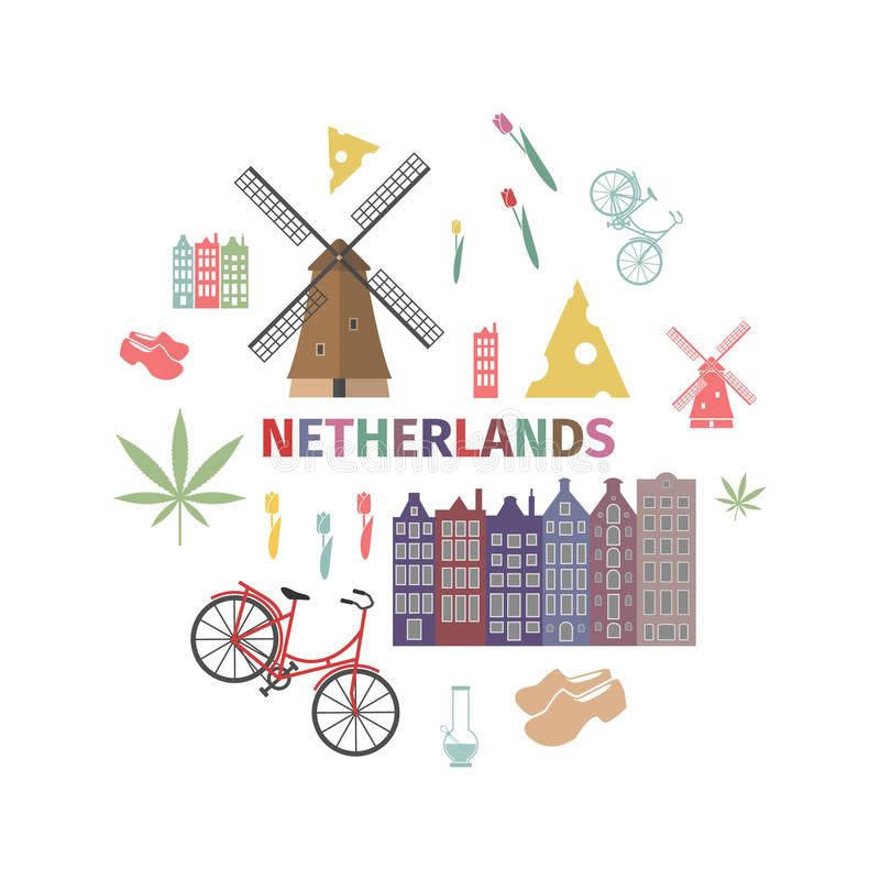 Netherlands web banner. Advertising template. Vector illustration. Netherlands web banner. Advertising template. Flat icons. Vector illustration royalty free illustration