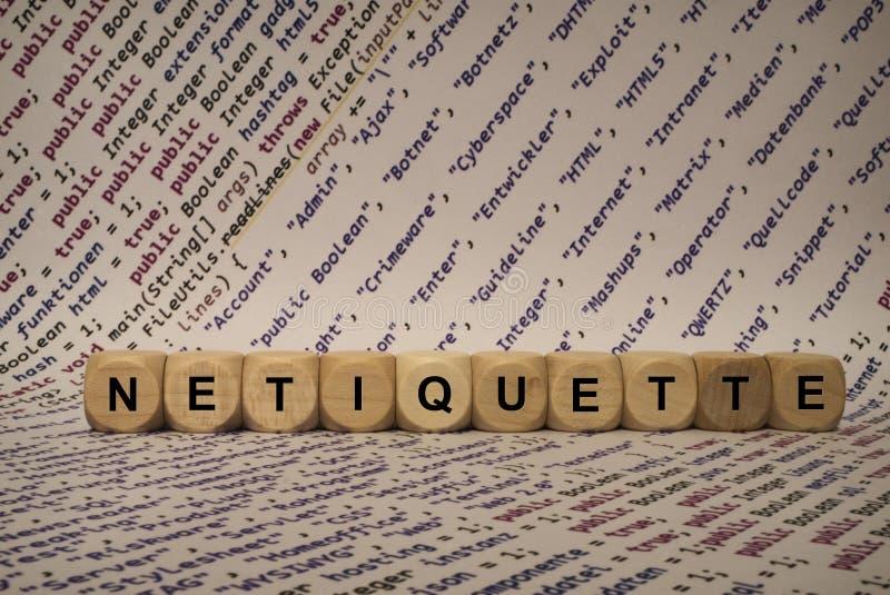 Netiquette - kubus met brieven en woorden van de computer, software, Internet-categorieën, houten kubussen royalty-vrije stock afbeeldingen