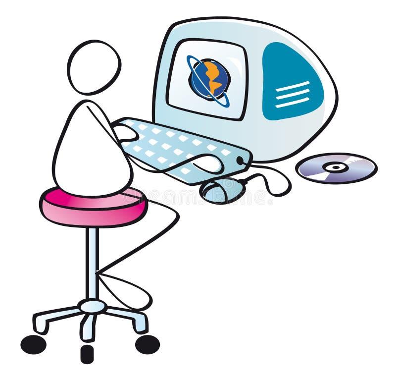 Netizen divertido con el ordenador stock de ilustración