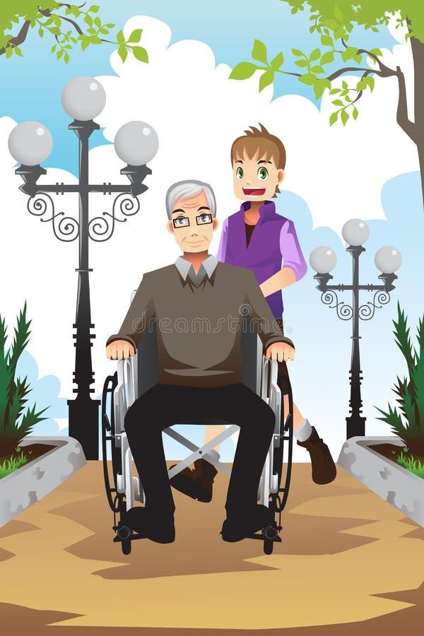 Neto e avô ilustração royalty free
