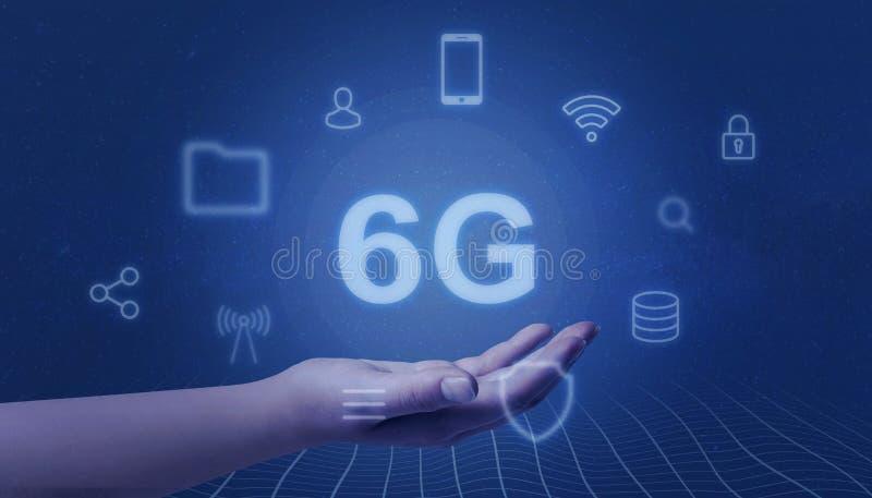 netork 6G schweben in der Frauenhand frei Bewegliches Netzkonzept der Geschwindigkeit lizenzfreie stockfotografie