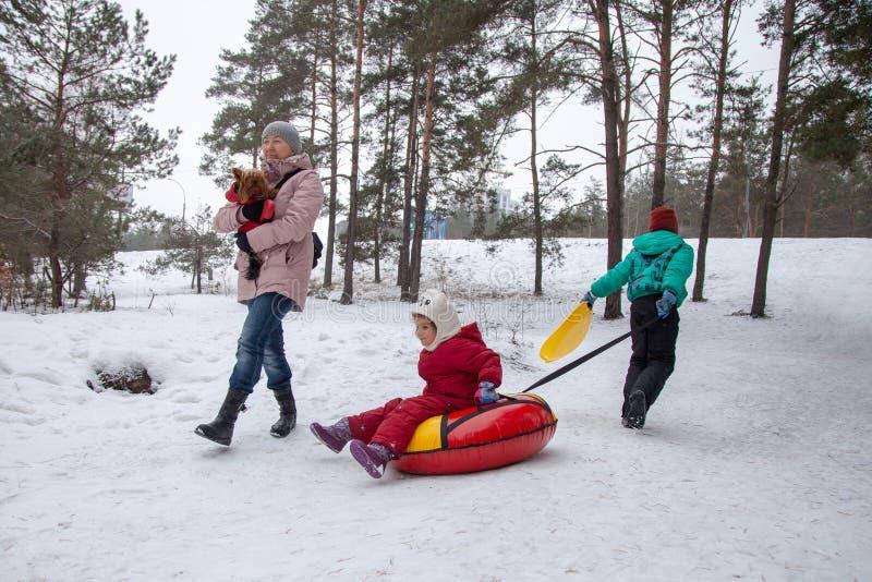 Netos e avó na caminhada no inverno imagens de stock royalty free