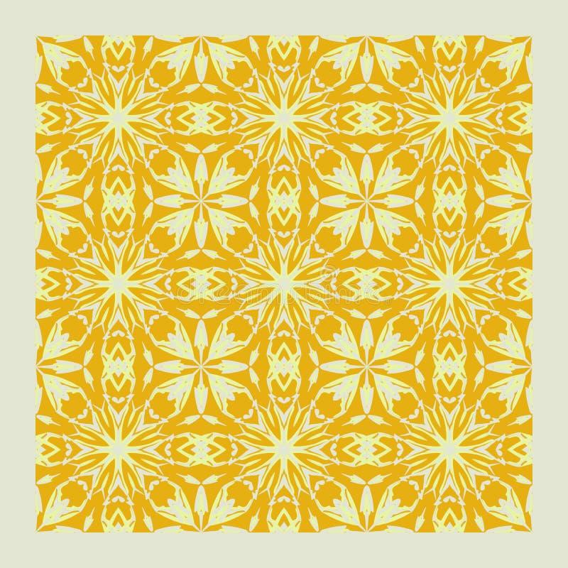 Netrivail abstract apricot mandala pattern, background, vector seamless royalty free illustration