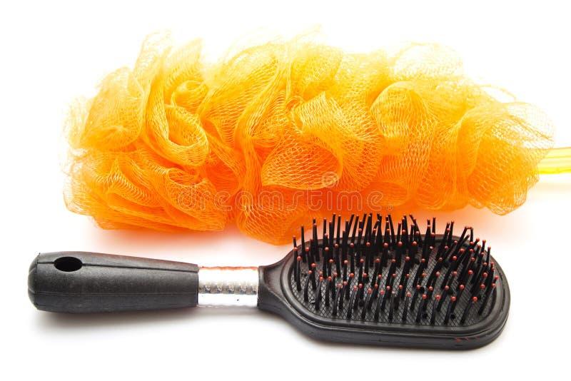 Netsponge with Hairbrush royalty free stock photography