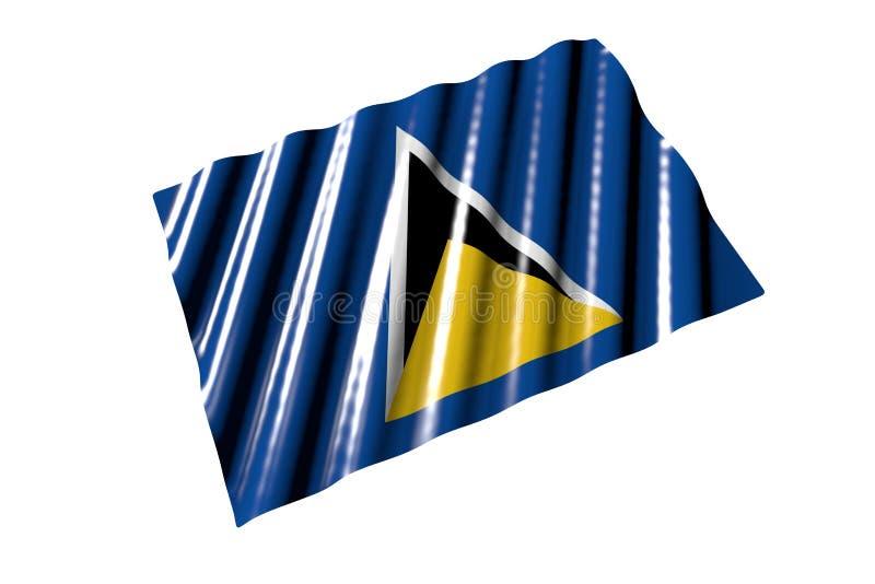 Nett irgendeine Illustration der Feiertagsflagge 3d - glänzende Flagge der St. Lucia mit den großen Falten, die flach lokalisiert vektor abbildung