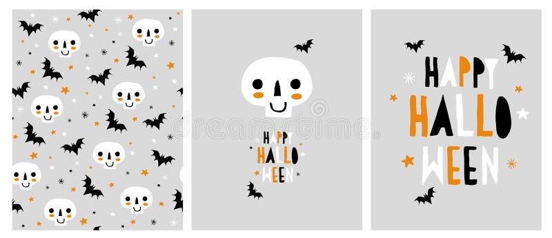 Nette abstrakte Halloween-Vektor-Illustrationen Schädel und Schläger stock abbildung