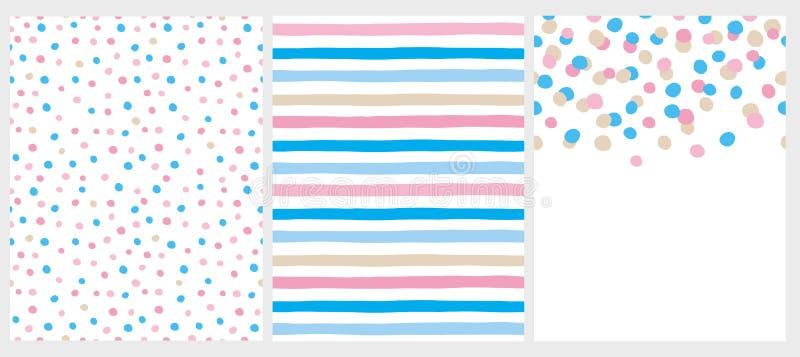 Nette abstrakte Vektor-Muster und Plan Weißes, Rosa, Blaues und Beige Desing stock abbildung