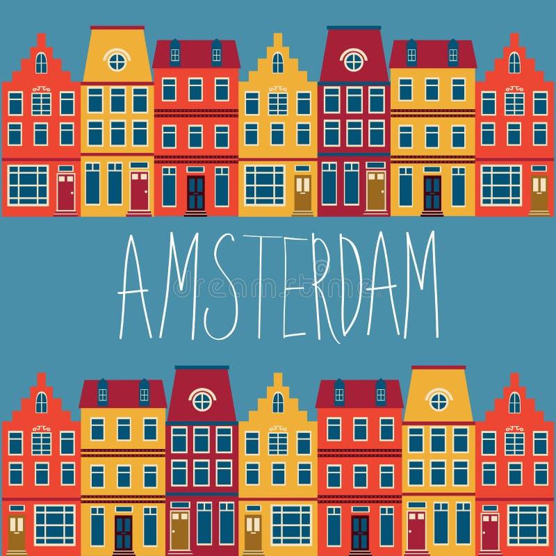 Nette Amsterdam-Häuser eingestellt stock abbildung