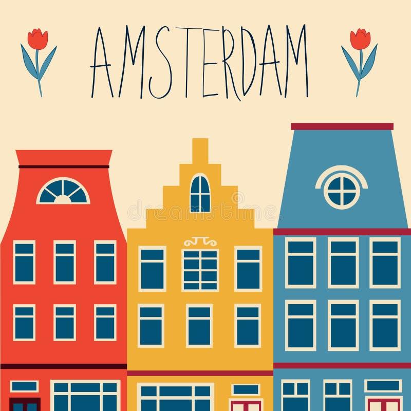 Nette Amsterdam-Häuser eingestellt lizenzfreie abbildung