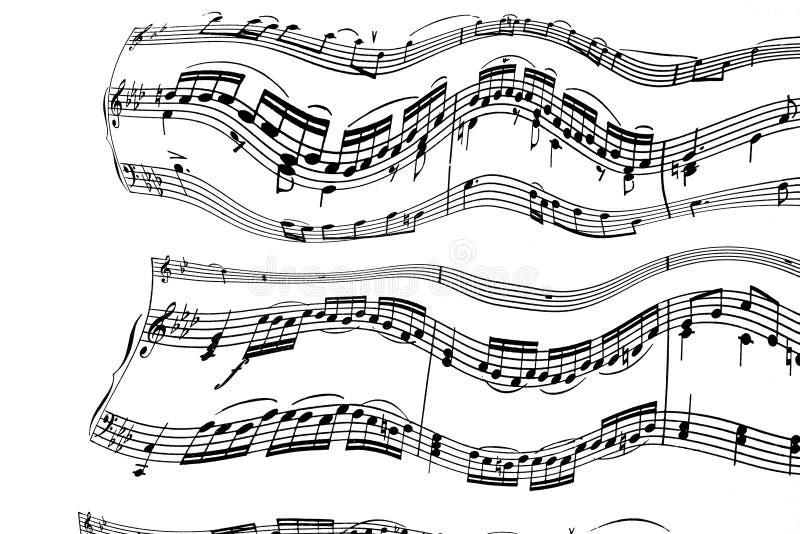 Nette Anmerkungen über musikalische Machthaber mit Violinenbass-Schlüsselebenen und Speck auf einem weißen Blatt lizenzfreies stockfoto