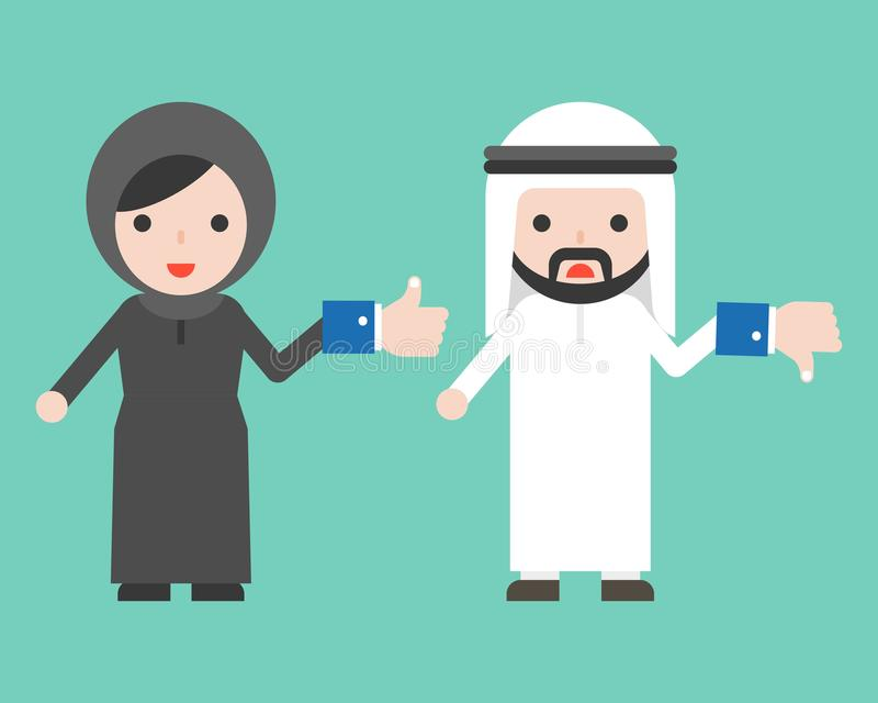Nette arabische Geschäftsmann- und Moslemfrau, die wie und anders als b hält stock abbildung