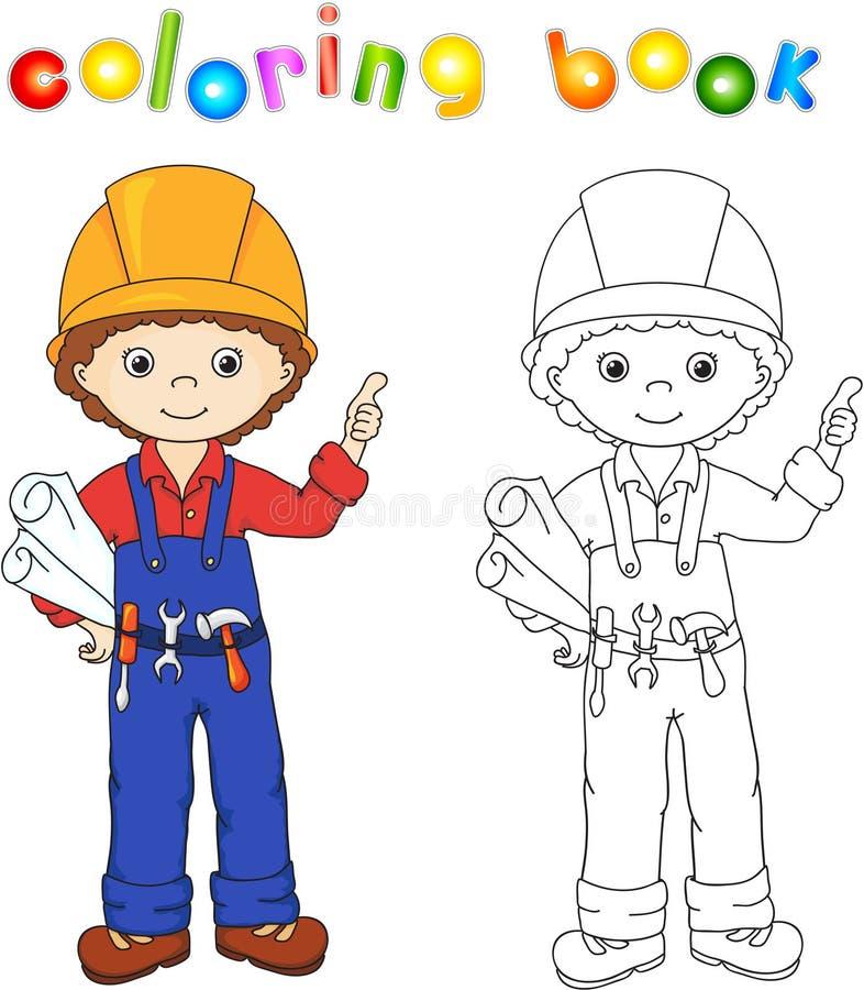 Nette Arbeitskraft oder Ingenieur in einer Uniform und Sturzhelm mit Werkzeugen und d vektor abbildung