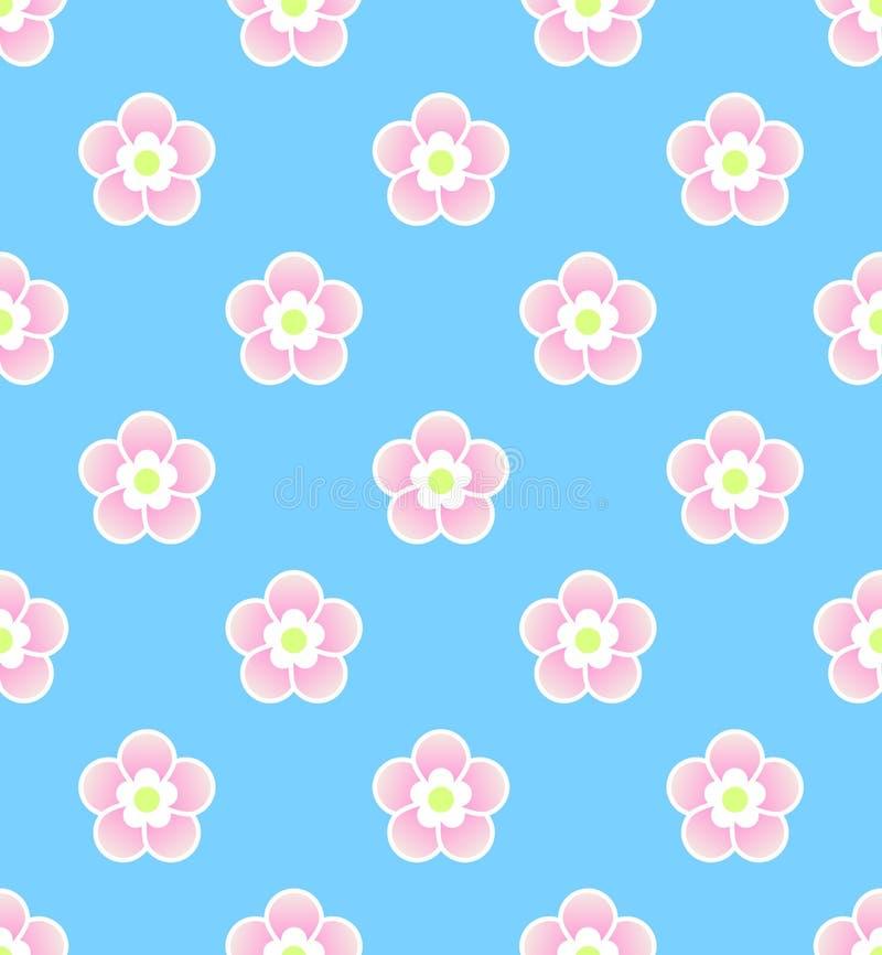 Nette asiatische Art Kirschblüte, nahtloses Muster der Kirschblüte auf blauem Hintergrund stock abbildung