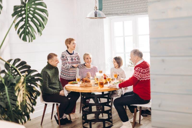 Nette attraktive Frau bietet geschmackvolle Mahlzeit ihren Verwandten an stockbilder