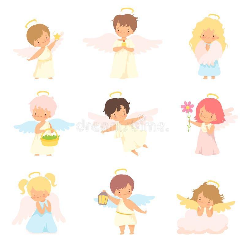 Nette Baby-Engel mit Nimbus- und Flügel-Satz, entzückenden Jungen und Mädchen-Zeichentrickfilm-Figuren im Amor oder in den Engel- stock abbildung