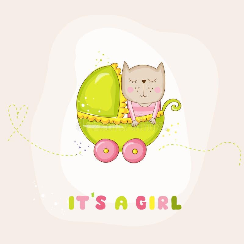 Nette Baby-Katze in einem Wagen - Babyparty oder Ankunfts-Karte vektor abbildung
