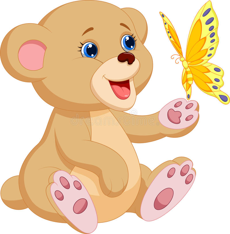 Nette Babybärnkarikatur, die mit Schmetterling spielt lizenzfreie abbildung