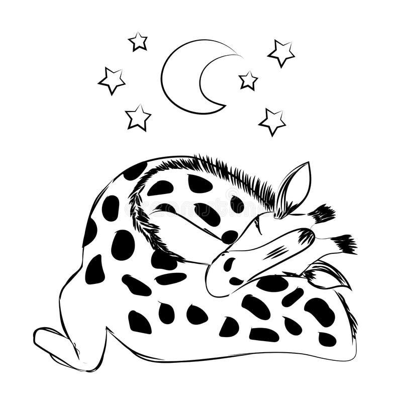 Nette Babygiraffe, die mit einem Plüsch und einem Friedensstifter für das Feiern der neuen Geburt schläft lizenzfreie abbildung