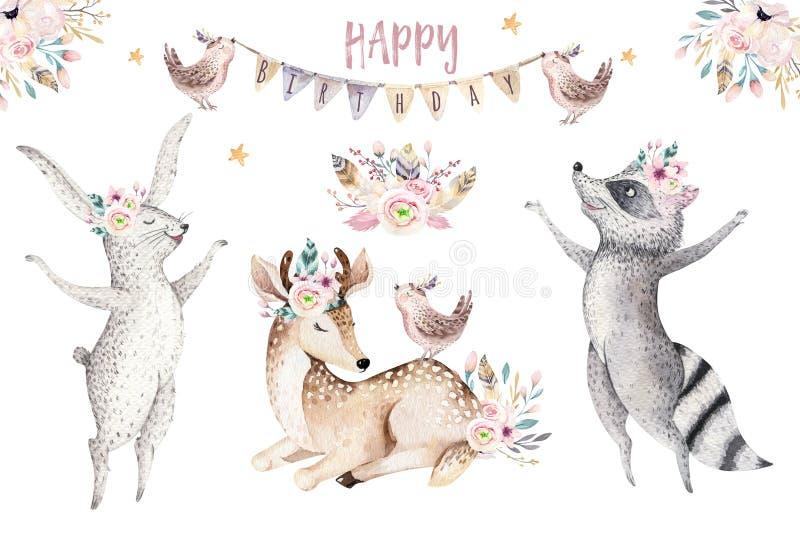 Nette Babygiraffe, Rotwildtierkindertagesstättenmaus und Bär lokalisierten Illustration für Kinder Aquarell boho Waldkarikatur lizenzfreie abbildung
