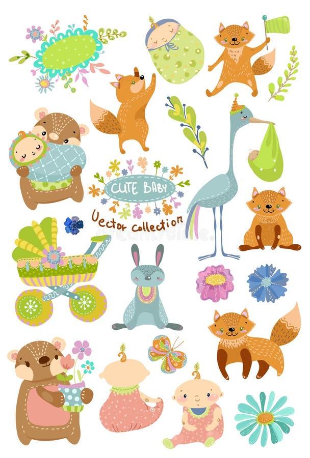 Nette Babykarikatursammlung mit Tieren vektor abbildung