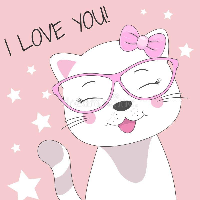 Nette Babykatze der Grußkarte in den Gläsern und in einer Aufschrift hallo lokalisiert im rosa Hintergrund vektor abbildung