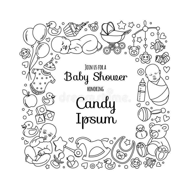 Nette Babypartyeinladungskarte für neugeborene Jungenmädchenpartei stock abbildung