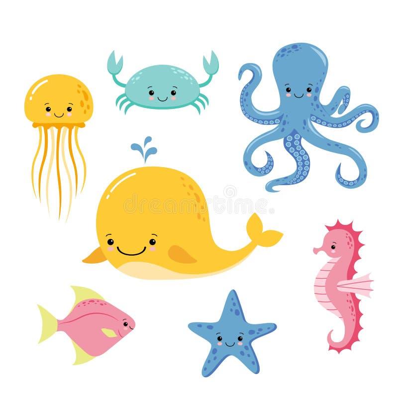 Nette Babyseefische Vektorkarikaturunterwassertiersammlung Quallen- und Starfish-, Ozean- und Seelebenillustration lizenzfreie abbildung