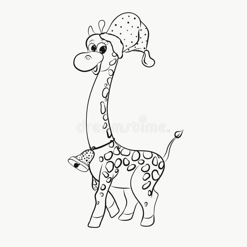 Nette beschmutzte Giraffe in einem Hut und mit einer Glocke um sein NEC vektor abbildung