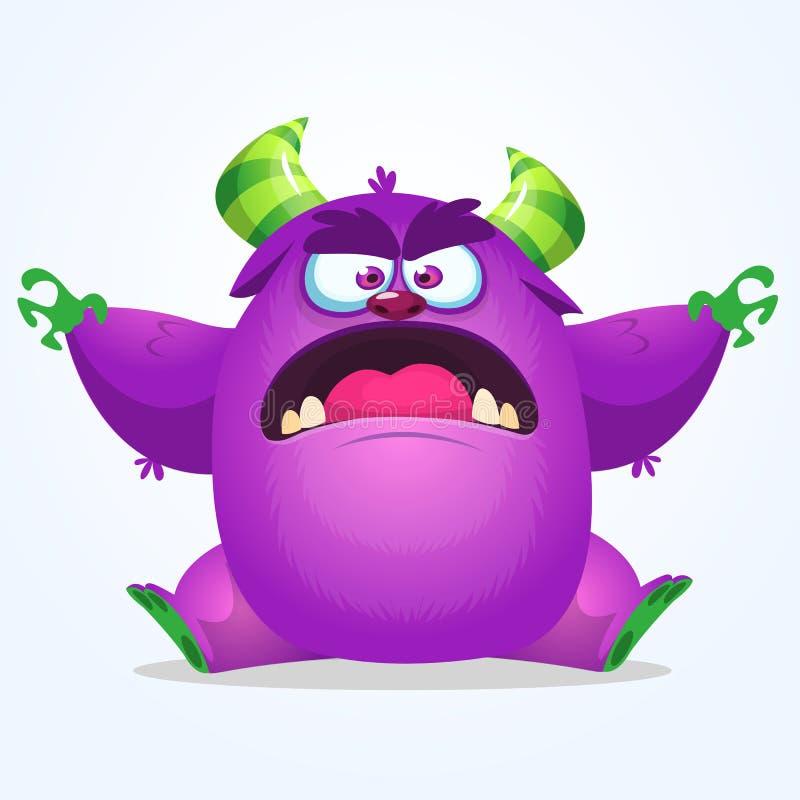 Nette blaue Monsterkarikatur mit lustigem Ausdruck Halloween-Vektorillustration des fetten Pelzschleppangel- oder Koboldmonsters lizenzfreie abbildung