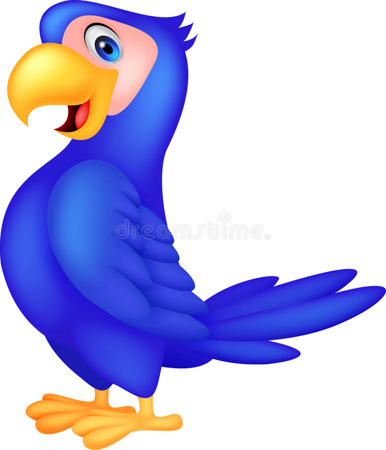 Nette blaue Papageienkarikatur vektor abbildung